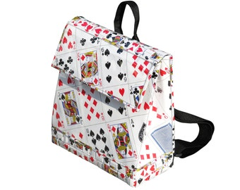 Upcycled Backpack, playing cards bag, backpack for women, eco friendly backpack, vegan backpack, sustainable gifts for her