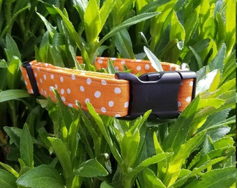 Orange with White Polkadots Dog Collar