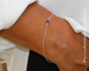 Bracelet with Ciani and chain bracelet minimal bracelet natural gemstone bracelet Silver sterling925 handmade bracelet
