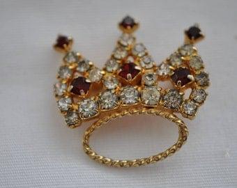 Vintage  Rhinestone Crown Brooch  Vintage