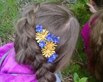 OOAK Dandelion and Violet hair-comb - Everlasting Ephemerals