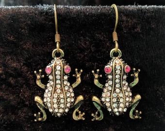 Bejewelled frog earrings #251