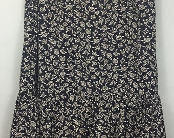 Vintage HANDMADE black white ditsy floral print gypsy skirt UK 10/12 summer