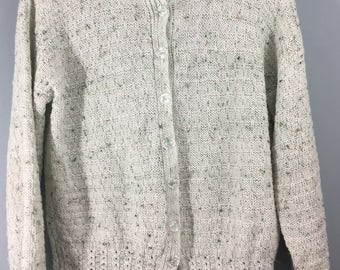 HAND KNITTED pale green speckled cardigan 14/16