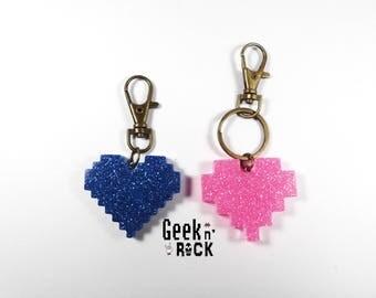 Keychain jewelry bag pixel heart gamer geek nerd video game console player retro gaming