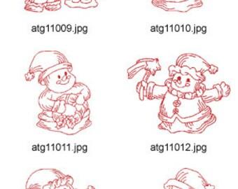 Redwork-Santas-and-Snowmen ( 10 Machine Embroidery Designs from ATW ) XYZ17K