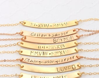 Rose Gold Curved Bar Necklace Personalized, Bar Necklace Layer, Bar Necklace for Mom, Curved Bar Necklace Gold, Bar Necklace for Women Gold