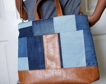 Denim Bag, Blue Bag, Brown Faux Leather Bag, Crossbody, Tote, Diaper, Beach, Travel, Work, Market, Travel, Laptop, Bags, Bag, Handbag, Purse