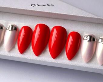 Mermaid nails, Red Stiletto Nails, Nail art, Coffin nails, False nails, Acrylic nails, Fake nails, press on nails, Glue on nails, nails