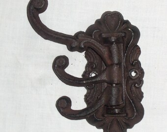 Antique Victorian Style Cast Iron Wall Hook Swivel 3 Way Adjustable Coat Hook