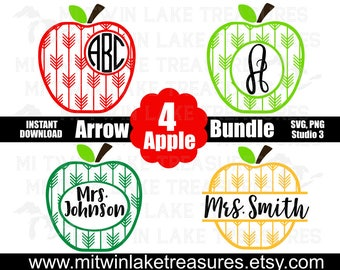 Arrow Apple Bundle (4) SVG, Instant & Digital Download, For Silhouette and Cricut, Teacher, Monogram, Name, DIY, Personal and Commercial Use