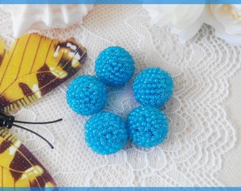 Blue necklace beads Handmade Beaded beads for making jewelry 16 mm DIY jewelry Blue glass round beads Cute artisan beads Loose beads