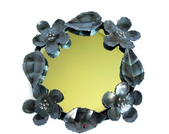 Vintage Handcrafted Metal Wall Mirror / Wrought Metal Mirror / Dark Grey / Black / Wall Art / Flowers & Leaves/ Boho Chic Decor / Metal Arts