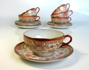 50s / Japanese / Tea Cup And Saucer Set / Set Of Six / Satsuma / Eggshell Porcelain / Hand Painted / Tea Set / Coffee Set / Fine China/ Gilt