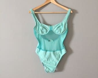 turquoise blue mesh underwire swimsuit || one piece swimsuit
