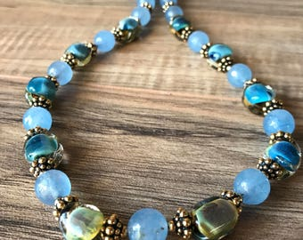 Women's necklace, blue necklace, aquamarine necklace, aquamarine earrings, boho necklace, gold necklace, Calming Waters N234