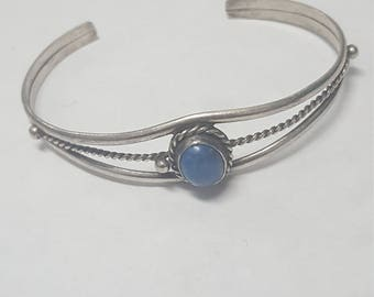 Vintage Sterling Silver Native American Lapis Stone Cuff Bracelet
