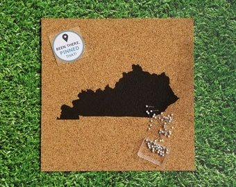 Cork Map of Kentucky / KY Travel Corkboard / United States Pushpin Map / Pinnable Places I've Been / Bluegrass State