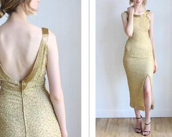 "Vintage Gold Beaded Silk Dress w/ Slit | Small | 26"""