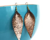 Rose Gold and Black Glitter Leaf Shaped Leather Earrings: Joanna Gaines Inspired Leather Leaf Earrings // Leafy Treetop Leather
