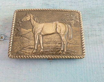 Vintage Horse Belt Buckle, The Great American Buckle Co Chicago 1979