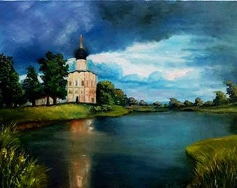 "Картина ""Перед грозой"", холст 40х35 , масло, Summer landscape, storm, river, house, temple, church"