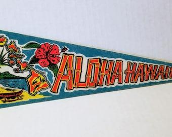 Aloha Hawaii - Vintage Felt Pennant