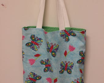 Butterfly Tote, Butterfly Bookbag, Tote Bag, Bookbag, Summer Tote, Butterflies, Garden Tote, Shopping Tote, Butterfly Theme, Summertime Bag