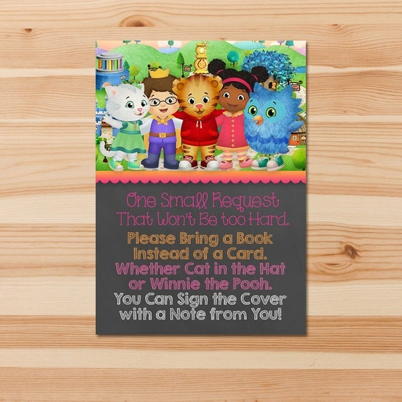 Daniel Tiger Book Request Insert - Pink Chalkboard - Please Bring a Book Instead of a Card - Baby Shower - Birthday - Books for Baby Insert