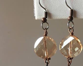 Swarovski Modern Round Cut Crystal Twist Drops - Golden Amber - Silver or Copper - Swarovski Bi Cones - French Hook Ear-wires - 50mm Drop