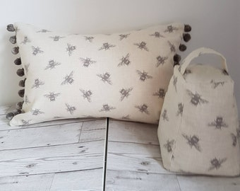 Bee cushion, pompoms, cushion cover, fryetts bee fabric, grey pompoms, oblong cushion, bolster cushion, gift for her