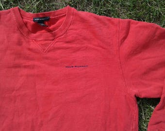 Vintage 90's Club Monaco Red Crew-neck Small Chest Pocket Logo Made in Canada Medium
