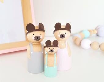 Bear Peg Dolls, Personalised Peg Dolls, Peg Doll Family, Nursery Decor, Children's Decor, Wooden Toys