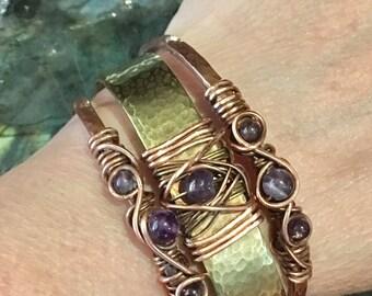 Amethyst Bracelet Cuff Bracelet Set Amethyst Stacking Bracelets Chakra Boho Bohemian Reiki Bracelet Protection Bracelet Copper Brass