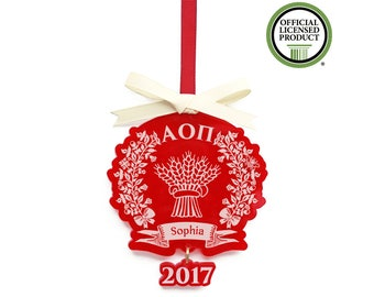 Alpha Omicron Pi Ornament - Christmas Ornament - Big Little Reveal - AOPi Gift Personalized - Big Little Sister -  AOii Wheatsheaf  - Xmas
