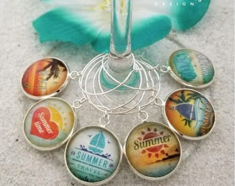 Summer Wine Glass Charms-Palm Tree-Beach Quotes Wine Charms-Housewarming Gift-Sailboat Charms-Tropical Wine Charms-Tropical Collection
