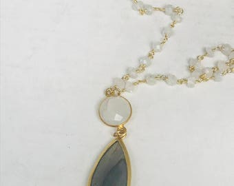 Labradorite Necklace Moonstone Necklace  labradorite Pendant Gold Necklace Labradorite Pendant Gift For Women Statement Necklace Layering