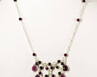 Amethyst Necklace & Earring Suite of Jewellery with 925 Sterling Silver Chain and Earhooks. Downton Abbey. Vintage. Edwardian styles