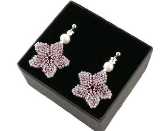 Cherry Blossom Sakura earrings Beadwork White Pearl Earrings, Seed bead jewelry, Beadwoven Beaded Bead woven Bridesmaid gift Bridal Wedding