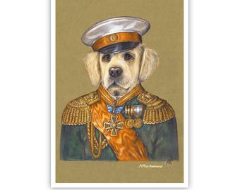 Golden Retriever Art Print - The General - Gifts for Dog Lovers - Military Art - Dog Portraits by Maria Pishvanova