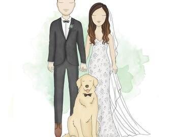Custom Wedding Portrait | Printable | Personalised Wedding Illustration | Digital Illustration | Anniversary | Gift