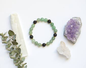 Green Aventurine Essential Oil Diffuser Bracelet | Crystal Healing Energy | Heart Chakra