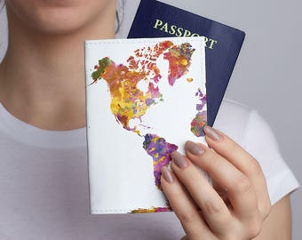 Colorful World Map Passport Holder Leather Passport Cover Leather Passport Holder Passport Case Woman Pasport Cover Travel Wallet CP0115