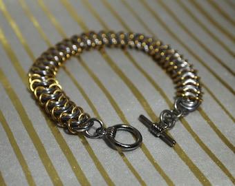 Kingscale bracelet in gunmetal and gold
