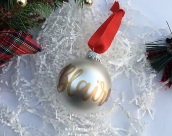 Custom Name Christmas Ornament | Personalized Kids Name Christmas Ornament | First Name Christmas Ornament | Pearl Colored Glass Ornament