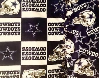 Dallas Cowboys NFL Fan Fleece Blanket! Handmade throw blanket designed by JAX. An NFL football theme throw for the avid Cowboy fan!