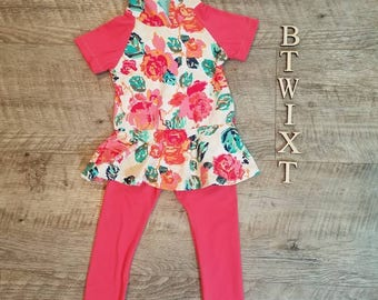 Floral hoodie and leggings set. Custom made baby/toddler hoodie dress and pink fringe leggings from BtwixtBoutique.