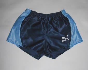 Vintage Puma SHORTS boys Nylon shiny shorts athletic oldschool