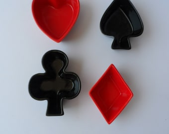 BIA Set of 4 Ceramic Playing Card Shaped Bowls Heart,Spade,Diamond, Club  Red Black  1604