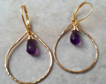 Amethyst earrings, Amethyst gold teardrop earrings, Teardrop amethyst earrings, gold amethyst earrings, teardrop hoops, purple earrings